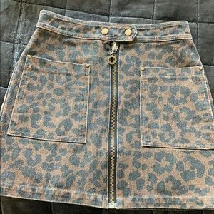 Cheetah Print Jean Skirt